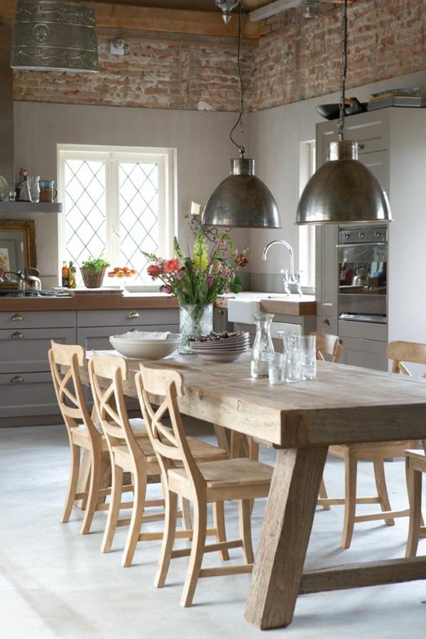 esstisch massivholz pendelleuchten esszimmer küchendesign