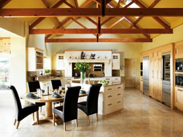 esszimmer küche wandfarbe gelb pastellfarben