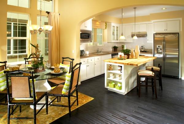 esszimmer küche wandfarbe gelb pholzboden schwarz