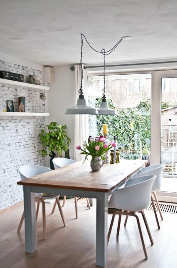 esszimmertisch mit stühlen pendelleuchten esszimmer rustikal