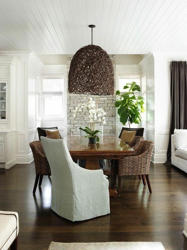 esszimmertisch mit stühlen rattanmöbel stühle korbsessel lampenschirm