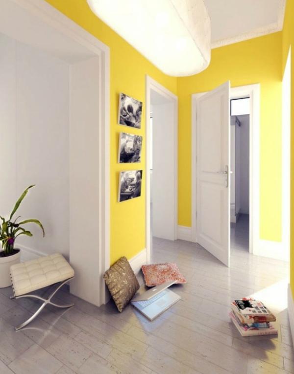 farbgestaltung flur gelb fotos schwarz weiß
