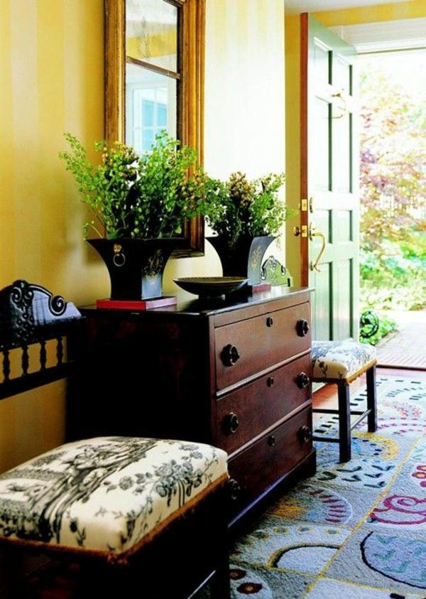 farbgestaltung flur grüne pflanzen