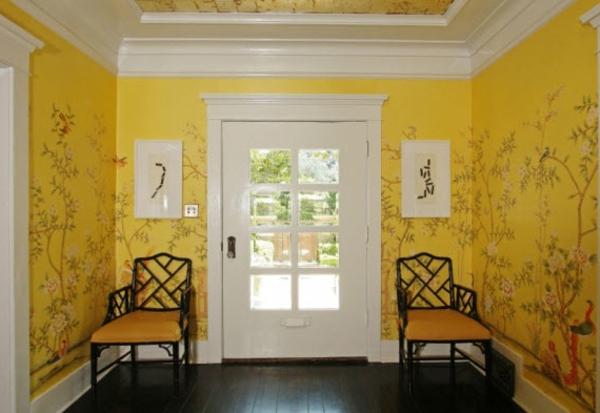farbgestaltung flur symmetrisch gelb