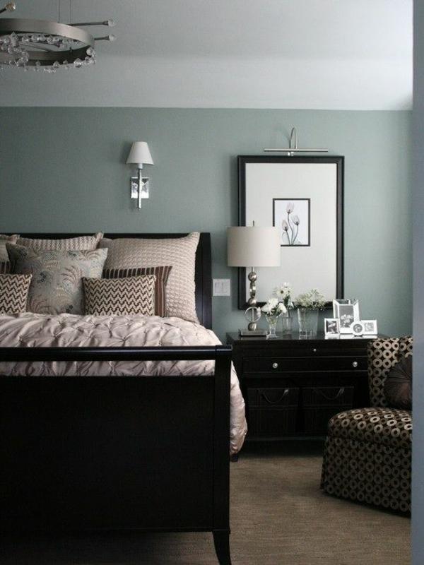 farbgestaltung schlafzimmer bett wandfarbe grau
