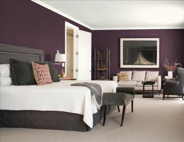 farbgestaltung schlafzimmer bett wandfarbe lila purpur - Schlafzimmer Lila Braun