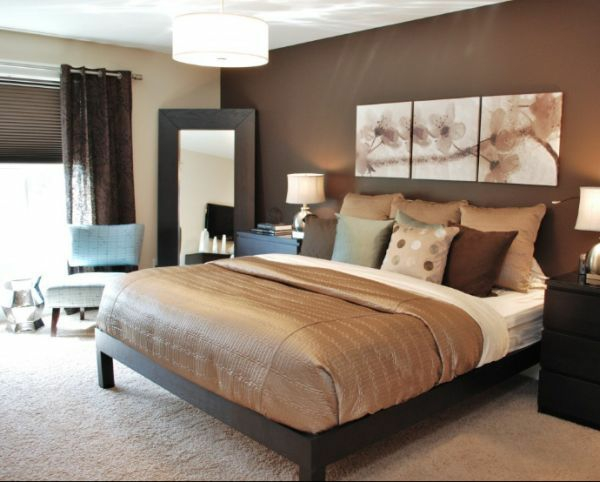 Farbgestaltung Schlafzimmer Wandfarbe Brauntöne Wandgestaltung
