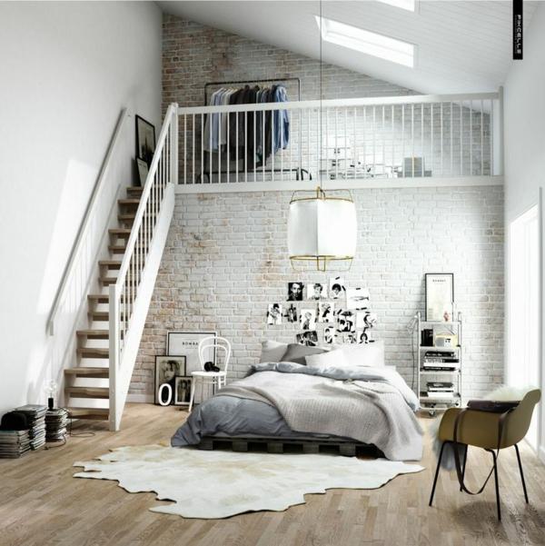 farbgideen schlafzimmer wandgestaltung schlafzimmer ziegelwand fellteppich