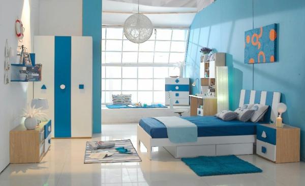 farbidee wohnzimmer blau weiß