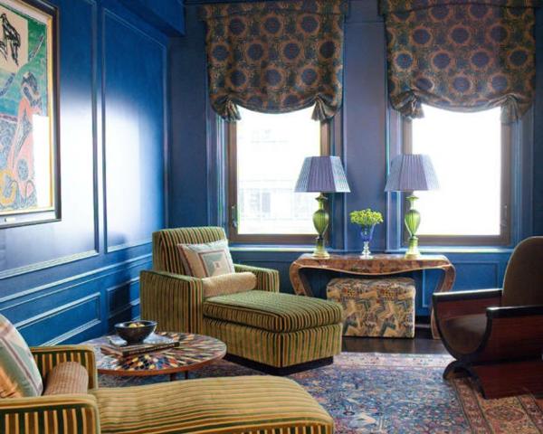 farbide wohnzimmer blaue akzentwand