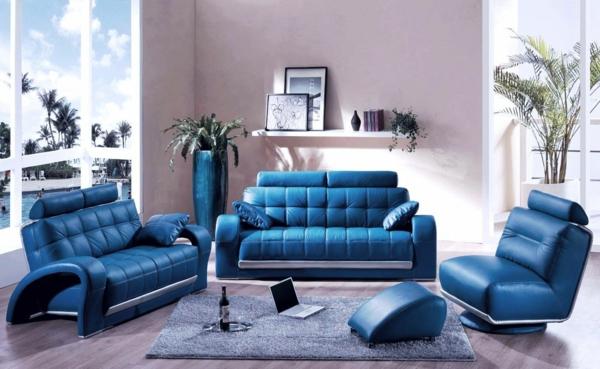 farbideen wohnzimmer blaue möbel leder