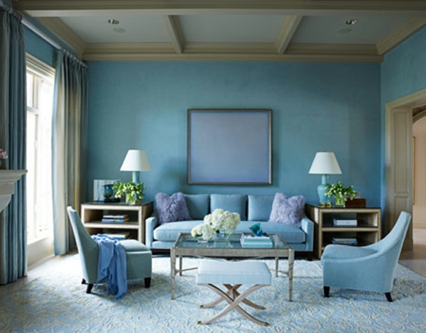 Wohnzimmerwand ideen blau  wohnzimmer ideen kupfer blau ruhige on moderne deko idee auch ...