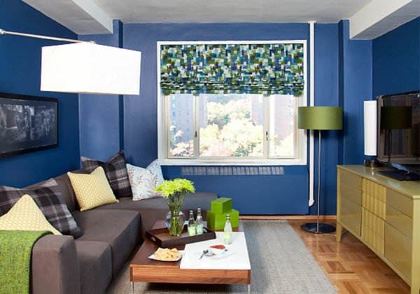 farbidee wohnzimmer blaue wand