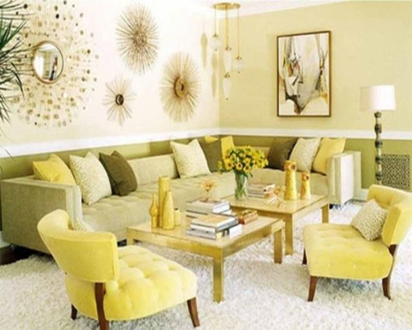 farbideen wohnzimmer gelbgrüne möbel