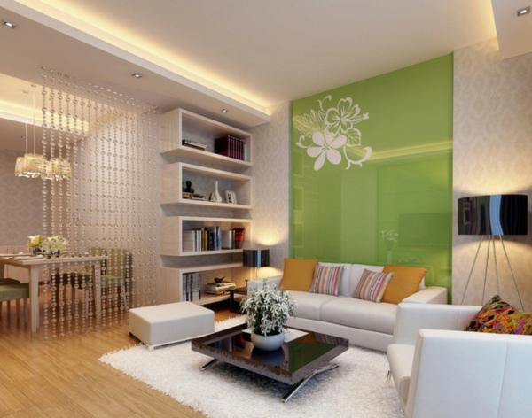 farbidee wohnzimmer grün hochglanz wandtattoo