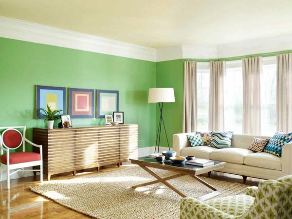 farbidee wohnzimmer grün sisal teppich
