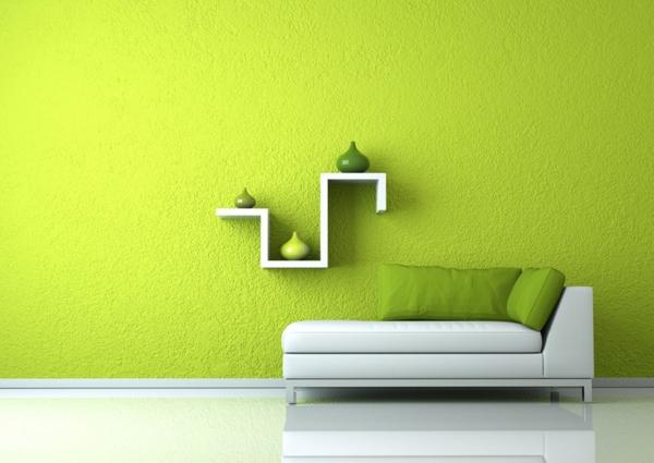 farbidee wohnzimmer minimalistisch lindgrün