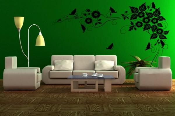 farbideen wohnzimmer minzgrn weie couch - Wandtattoo Wohnzimmer Grun
