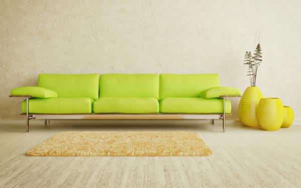 farbideen wohnzimmer neongrünes sofa