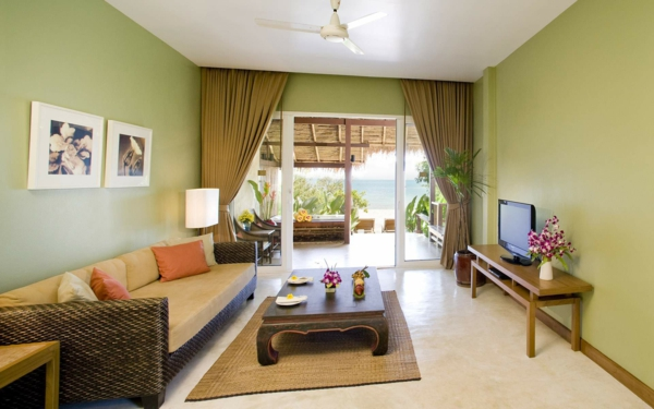 farbideen wohnzimmer rattan couch