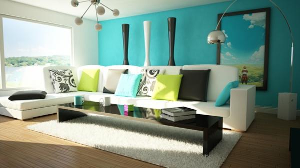 farbideen wohnzimmer - trendfarbe greenery beschert frische und ... - Trkise Wand