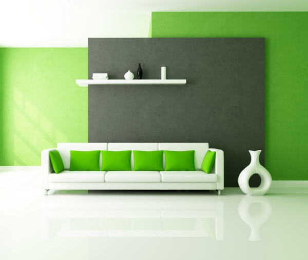 farbideen wohnzimmer weißes sofa grüne kissen