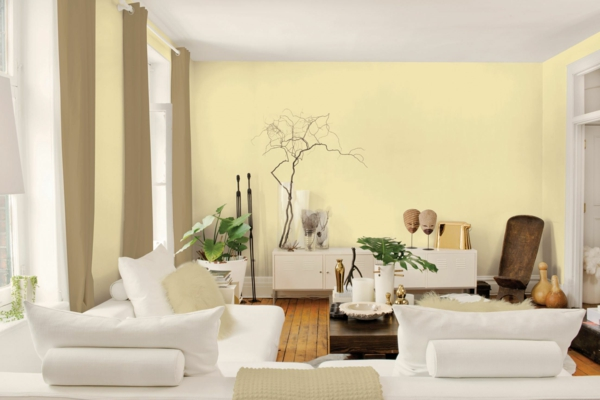 Wohnzimmer Braun Gelb