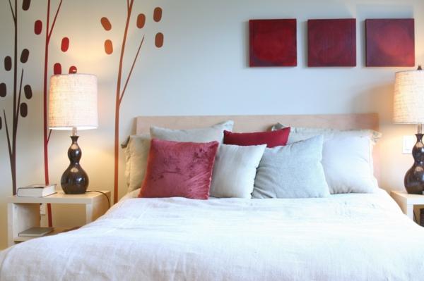 feng shui bett schlafzimmer farben rot wandgestaltung ideen