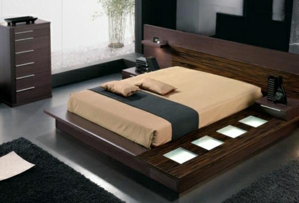 feng shui bett schlafzimmer holzmöbel asiatischer stil