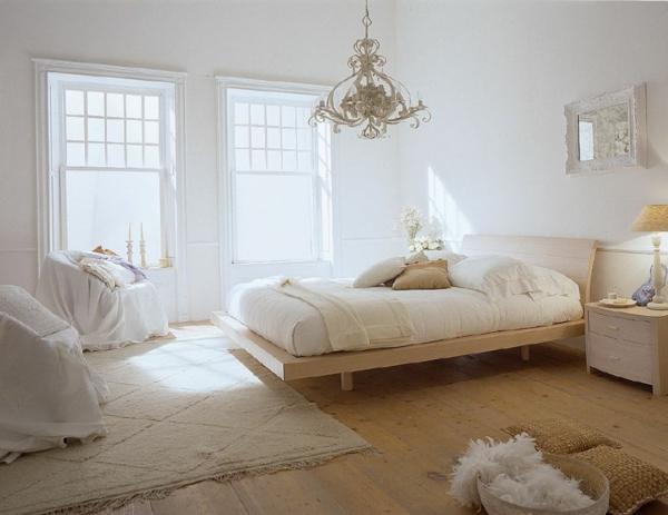 feng shui einrichten schlafzimmer bett holz holzboden sessel