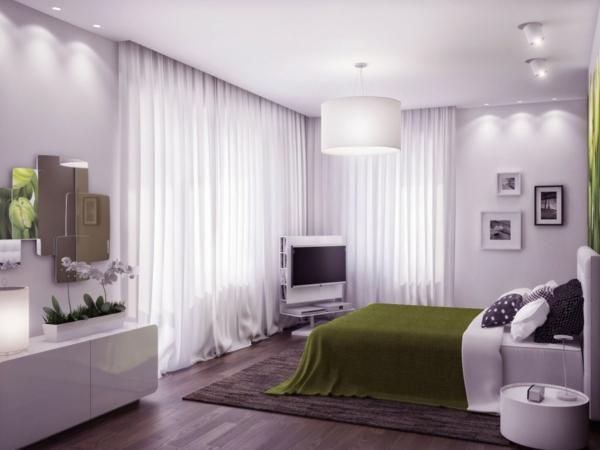 feng shui einrichten schlafzimmer bett holzboden gardinen ideen weiß