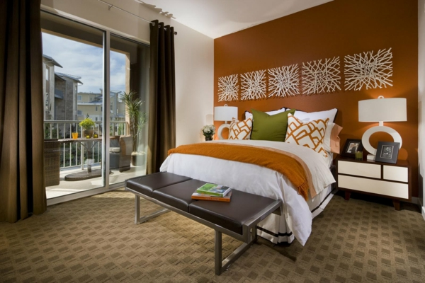 feng shui einrichten schlafzimmer bett schlafzimmer wand orange