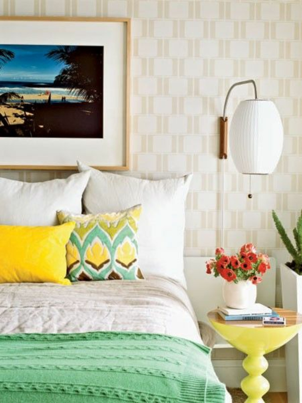 feng shui regeln schlafzimmer einrichten farbideen gelb grün