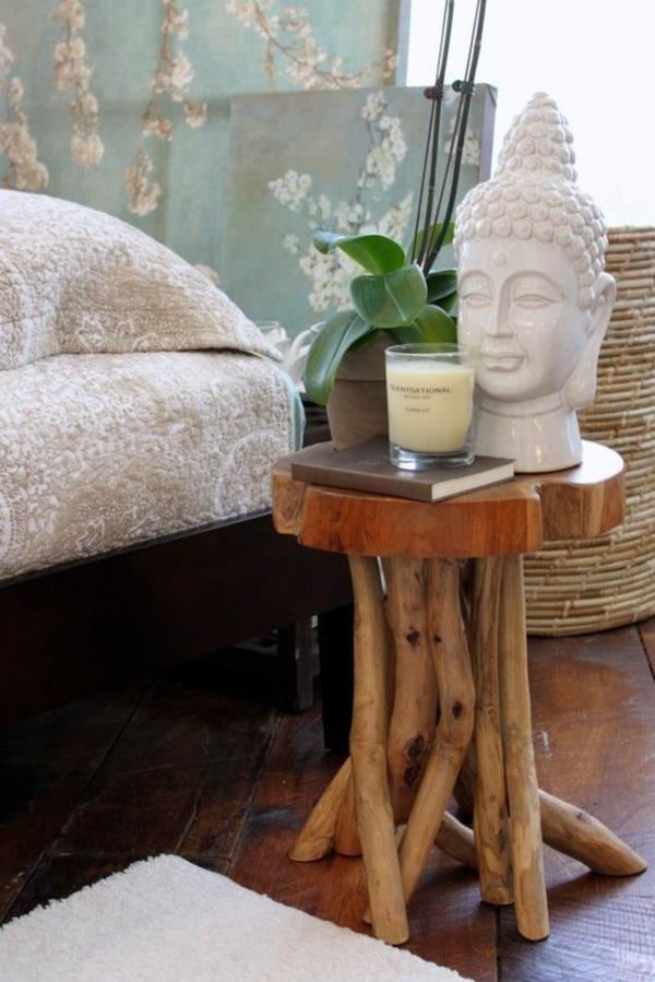 Feng Shui Schlafzimmer Einrichten Beistelltisch Holz Buddha Statue