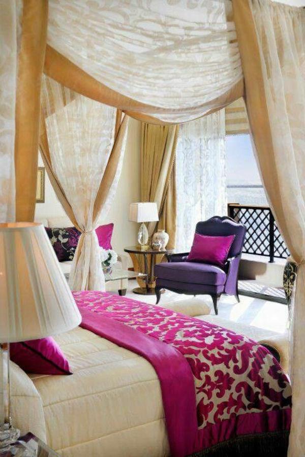 feng shui schlafzimmer einrichten farben lila baldachinbett gardinenideen