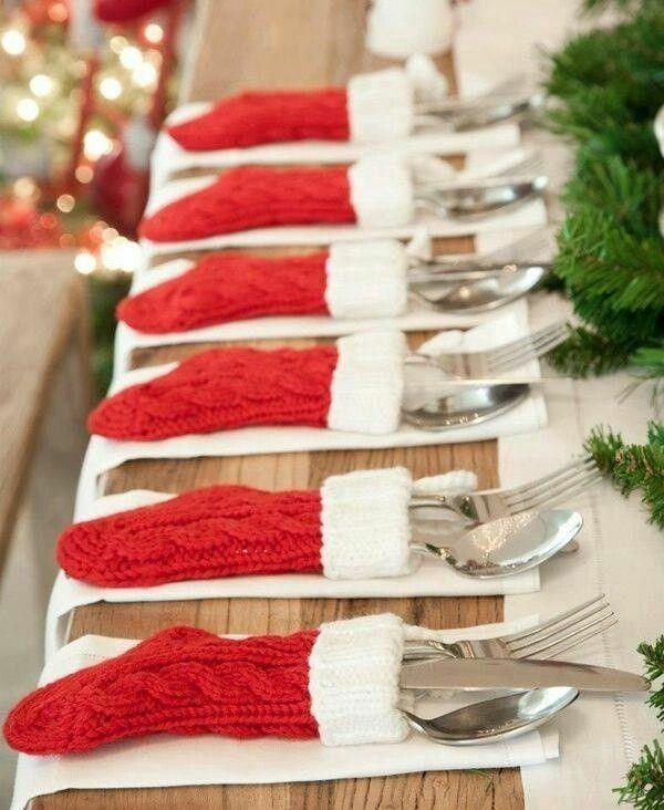 festliche tischdeko ideen weihnachtsbastelideen bestecktaschen socken