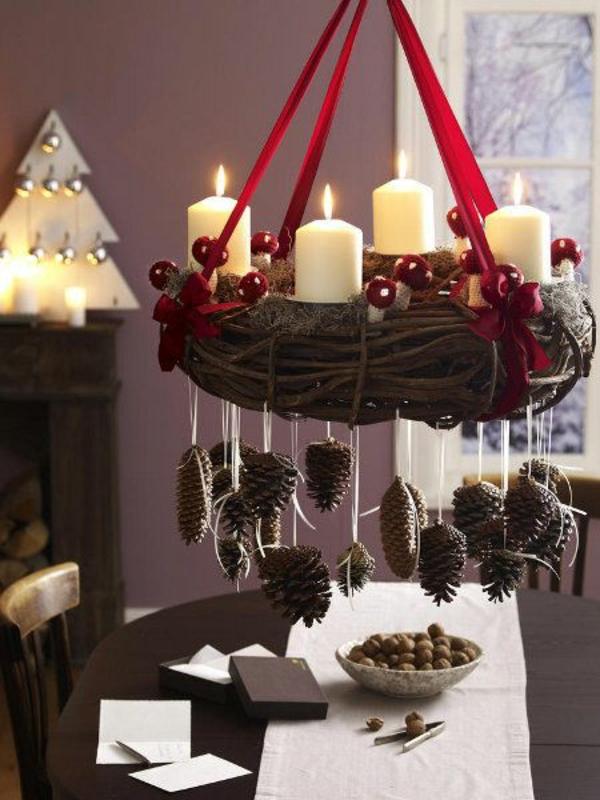 festliche tischdeko ideen weihnachtsdeko kranz basteln