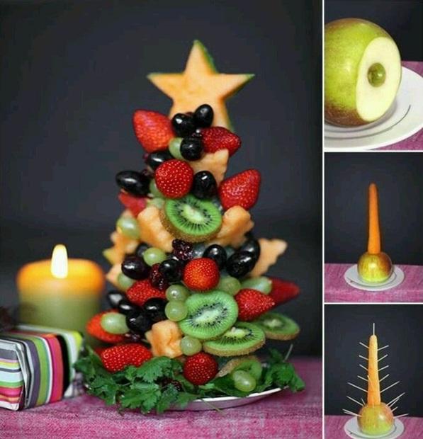 festliche tischdeko weihnachten tannenbaum früchte besten Weihnachtsplätzchen