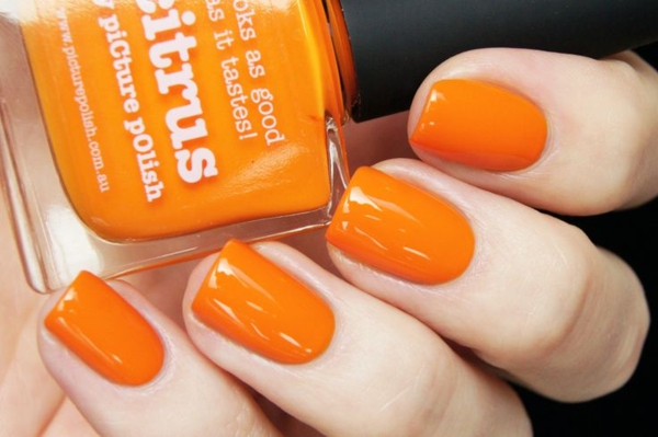 fingernägel bilder orange schlichtes nageldesign