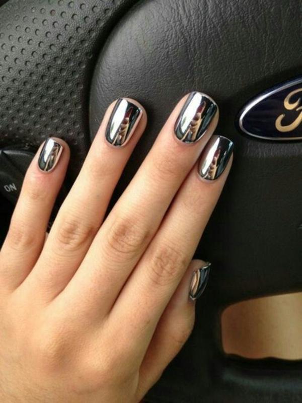 fingernägel bilder schlichte silber metallik schlichtes nageldesign