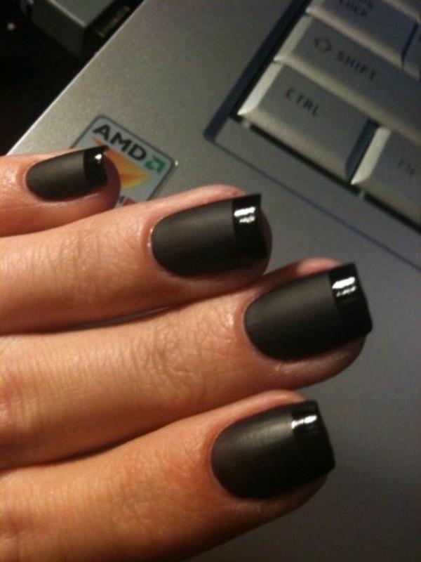 fingernägel bilder schlichte nägel schwarz matt glänzend