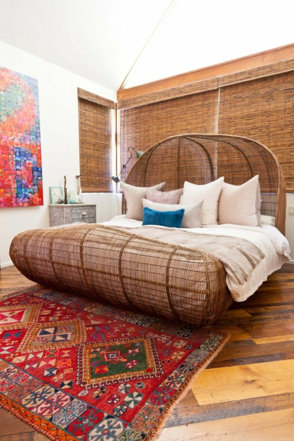 flechtmöbel schlafzimmer ideen bett rattanmöbel