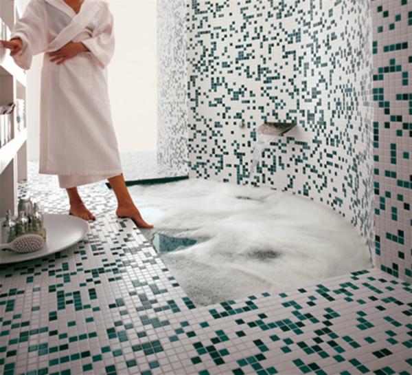 fliesen muster badezimmer mosaik grün weiß