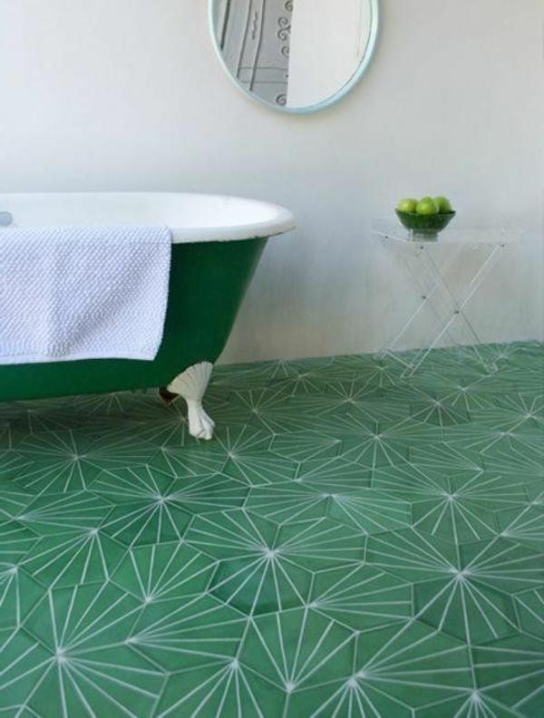 fliesenmuster grün badezimmer