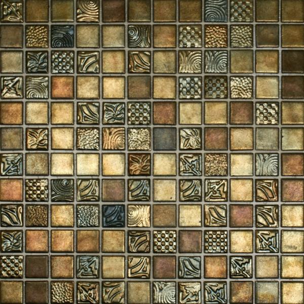 fliesen muster mosaik gold kupfer glanz