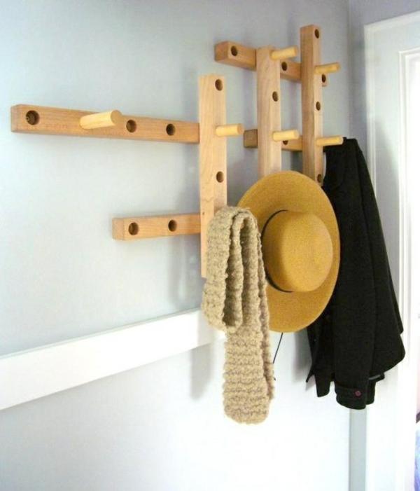 flur gestalten holzregal bauen kleiderständer kleiderhaken