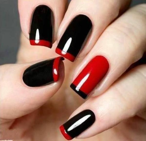 french nägel bilder schlichtes nageldesign schlichte nägel schwarz rot