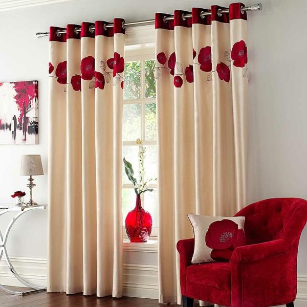gardine wohnzimmer idee:gardine dekorationsvorschläge gardinen ideen rote blumen