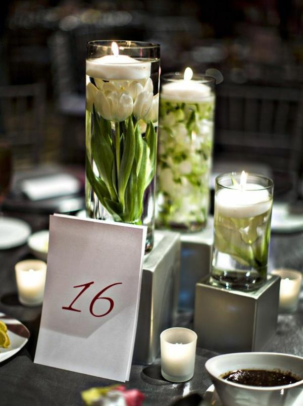 hochzeitsdeko ideen tischdekoration mit tulpen weiß