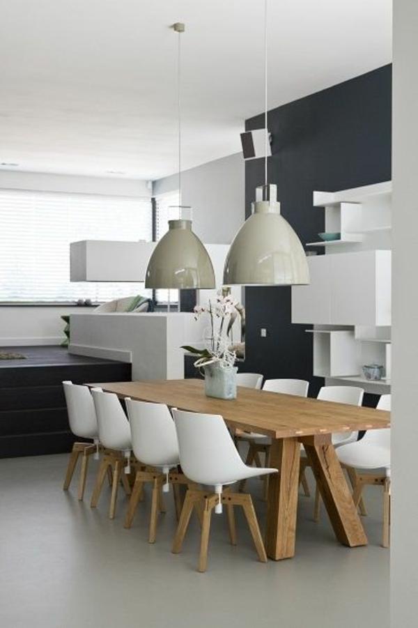 Holz Esszimmertisch Mit Stühlen Pendelleuchten Esszimmer Einrichten